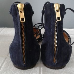 J. Crew Shoes - J.CREW blue suede lace up zip pointed toe flats.
